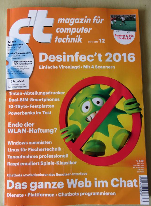 Titelseite vom aktuellen CT Magazin 12 / 2016 28.05.2016