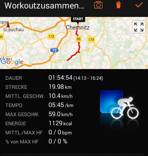 Screenshot Sports Tracker App Radtour von Chemnitz nach Tahlheim Erzgebirge