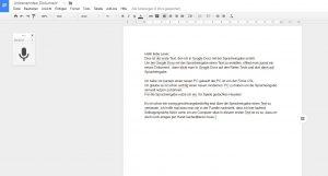 Screenshot meines ersten Versuchs mit der Spracheingabe in Google Docs einen Blogbeitrag zu verfassen.