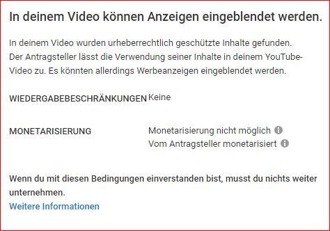 Scrennshot der Nachricht auf meinem Youtube Kanal  bezüglich des Content ID-Anspruchs