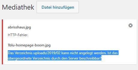 Das Verzeichnis uploads/2019/02 kann nicht angelegt werden. Ist das übergeordnete Verzeichnis durch den Server beschreibbar?